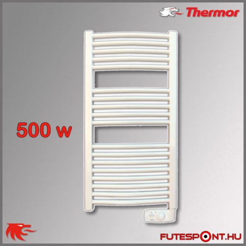 Thermor Corsaire 500W - elektromos törölközőszárító termosztáttal, íves, fehér